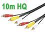 CORDON AUDIO/VIDEO RCA, 3 x RCA MALE VERS 3 x RCA MALE 10m HQ cable 75 ohms