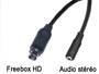 Cordon cable audio stéréo blindé mini din 9 broches pour Freebox HD vers jack 3.5mm femelle L=10cm