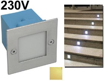 Spot Encastrable Mural Carré à LED 230v Intérieur / Extérieur Pour Escalier  , Allée De Jardin , Voie De Garage Led Blanc Chaud Photo