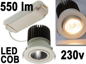 Spot encastrable orientable pour faux plafond 230v 6.5w LED 350mA COB 550lm