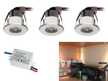 Kit 3 mini spots LED 230v à encastrer pour meubles, cuisine, bibliothèque, étagères