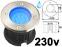Spot LED 220v 230v 2w BLEU, Rond, étanche IP67 pour l'exterieur. Faible profondeur. Encastrable pour sol de terrasse & jardin. Inox 316L compatible milieu salin ( piscine filtrage au sel / bord de mer)