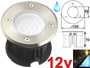 Spot LED 12v 1.8w 6000k blanc lumière du jour, Rond, étanche IP67 pour l'exterieur. Inox 316L, Faible profondeur. Encastrable pour sol de terrasse, jardin et plage de piscine
