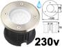 Spot LED 220v 230v 2w BLANC lumière du jour 6000k, Rond, étanche IP67 pour l'exterieur. Faible profondeur. Encastrable pour sol de terrasse & jardin. Inox 316L compatible milieu salin ( piscine filtrage au sel / bord de mer)