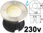Spot LED 220v 230v 2w BLANC CHAUD 3000K, Rond, étanche IP67 pour l'exterieur. Faible profondeur. Encastrable pour sol de terrasse & jardin. Inox 316 compatible milieu salin ( piscine filtrage au sel / bord de mer)
