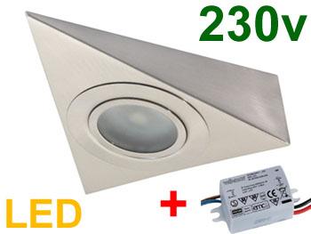 Spot triangle 230v 2.5w LED haute luminosité 280lm blanc chaud pour plan de travail de cuisine fixation sous meuble haut