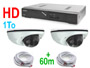 Pack video surveillance HD avec enregistreur numerique 1To H.265 + kit 2 caméras dome HD + 2X30M cable. Compatible internet / iphone / Android