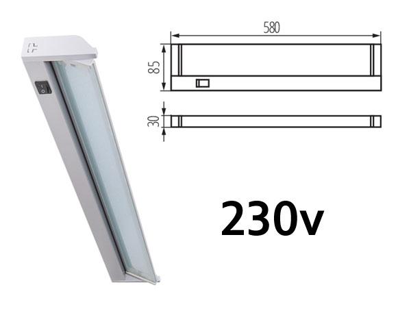 Réglette LED 58cm 230v 5.5w 4000k 480Lm haute luminosité pour éclairage plan de travail de cuisine. fixation murale. Orientable.