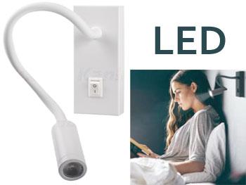 Spot applique LED mural 230v blanc sur col de cygne flexible orientable pour éclairage de meuble, tableau, vitrine, bureau, liseuse tête de lit