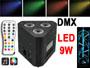 Projecteur RVB TRUSSLED 3x3w DMX et télécommande. Micro intégré pour effets en rythme sur la musique. Couleur fixe et réglable possible.
