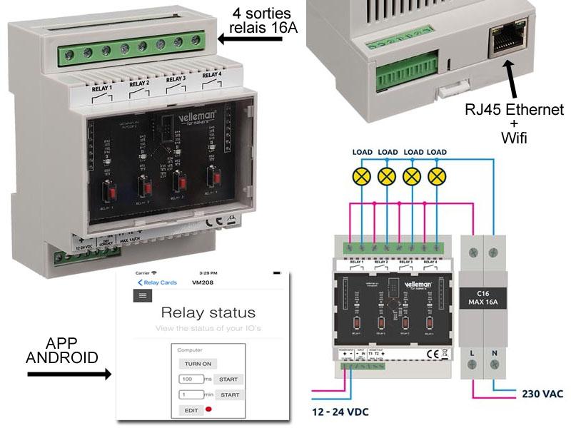 Contrôleur à distance IP 4 sorties Relais via Internet et Android avec serveur web intégré. Ethernet RJ45 et wifi. Montage RAIL DIN
