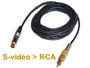Cordon cable adaptateur HQ Svidéo minidin 4 broches ( compatible mini-din 7 broches ) vers RCA  video composite L=2m